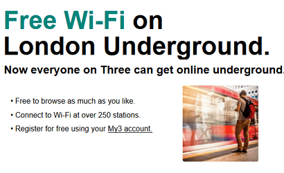Three's WiFi on the Underground scheme banner
