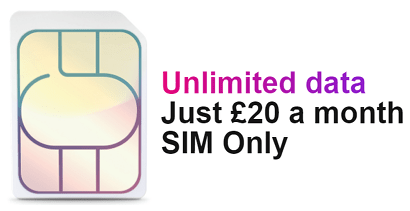 Three's unlimited data SIM only plan