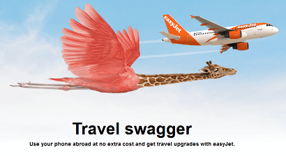 easyJet travel upgrades on Three