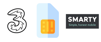 SIM card with Three and SMARTY logos