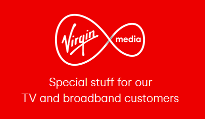Shimmering Virgin Media logo and caption