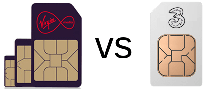 Virgin and Three SIM cards