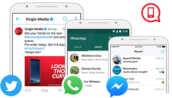 Unlimited WhatsApp, Facebook Messenger and Twitter