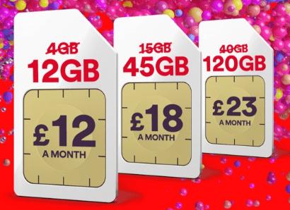 Virgin Mobile triple data SIMs