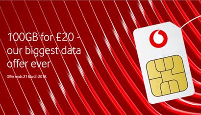 Vodafone 100GB SIM only banner