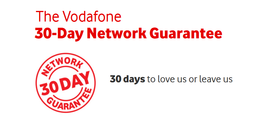 Vodafone's 30 day network guarantee