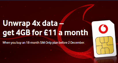 Vodafone 4x data 4GB SIM