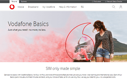 Screenshot of Vodafone's hidden Basics SIM page