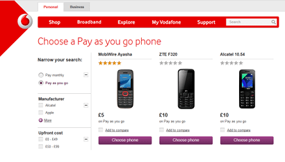 Vodafone PAYG phones