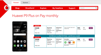 Vodafone phone pricing