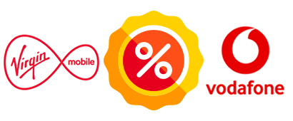 Virgin and Vodafone logos with a special offer label