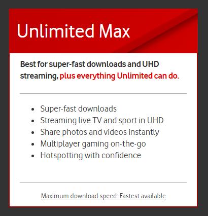 Vodafone Unlimited Max Plan