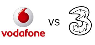 Vodafone and Three logos