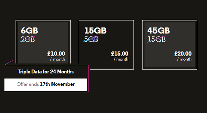 Triple data SIM only offers
