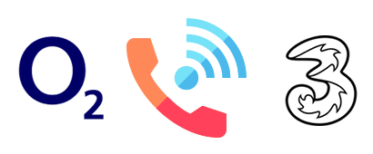 WiFi calling symbol with O2 and Three logos