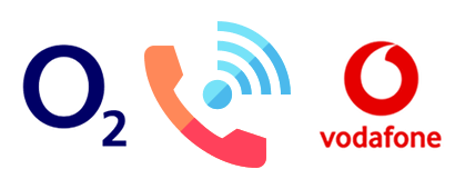 WiFi calling symbol with O2 and Vodafone logos
